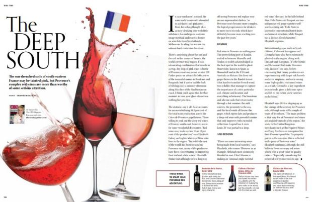 Editorial feature red wine of Provence Chrissie McClatchie journalist